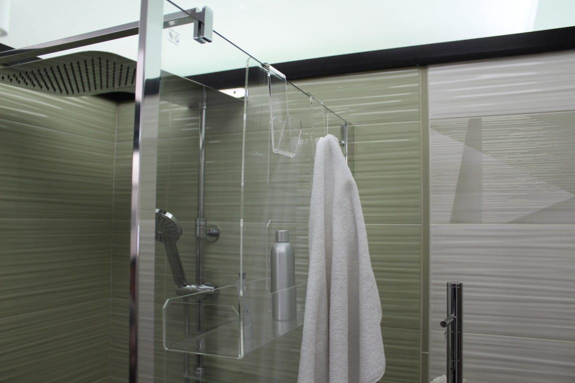 Portasapone Doccia In Plexiglass Con 2 Porta Asciugamani Mensola Per Doccia