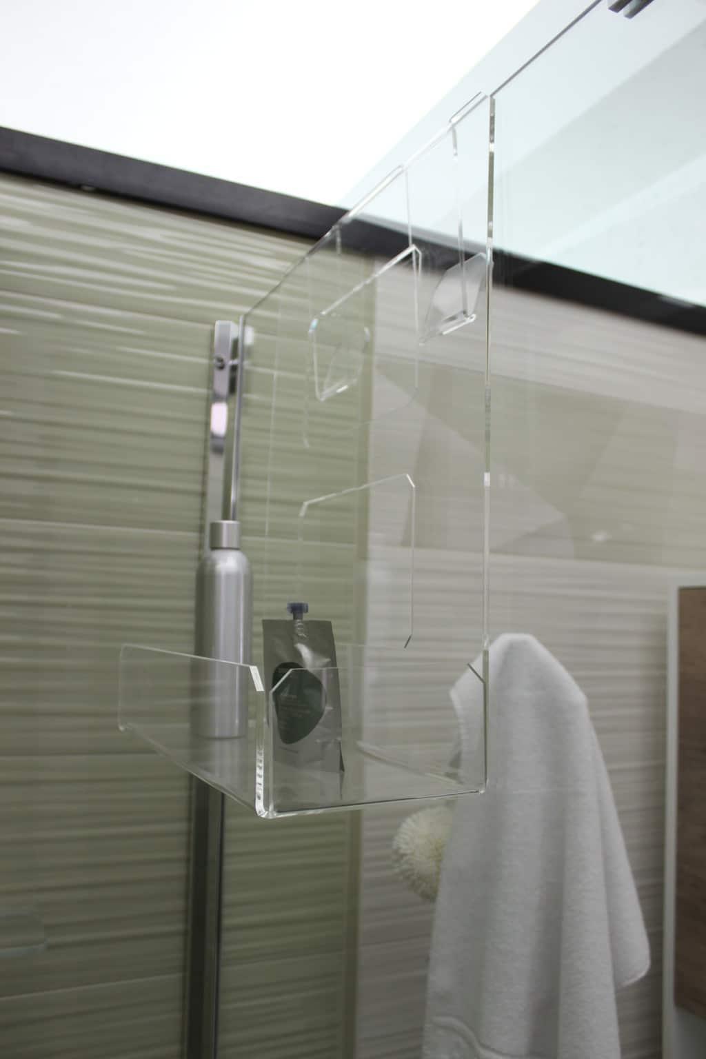 Accessori Portasapone Per Doccia.Portasapone Doccia In Plexiglass Con 2 Porta Asciugamani Mensola Per Doccia