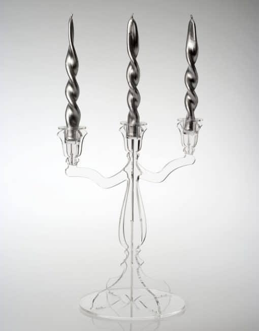 porta candele tre fuochi plexiglass