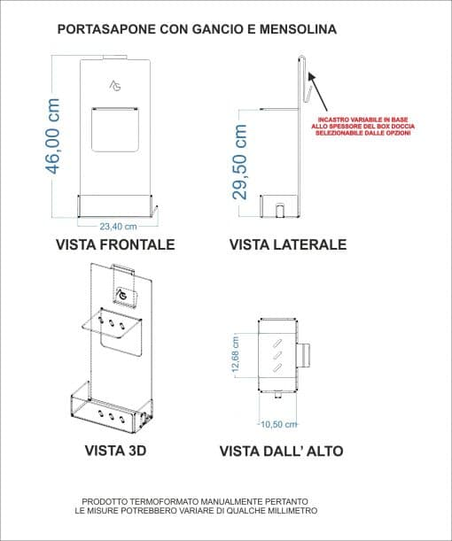 portasapone mensola doccia plexiglass